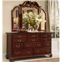 American Drew Cherry Grove 45th Triple Dresser with 11 Drawers - Shown with Tri-Fold Mirror