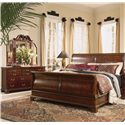 American Drew Cherry Grove 45th Triple Dresser with 11 Drawers - Shown with Sleigh Bed and Tri-Fold Mirror