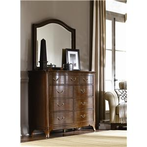 American Drew Cherry Grove 9 Drawer Dresser with Arched Mirror