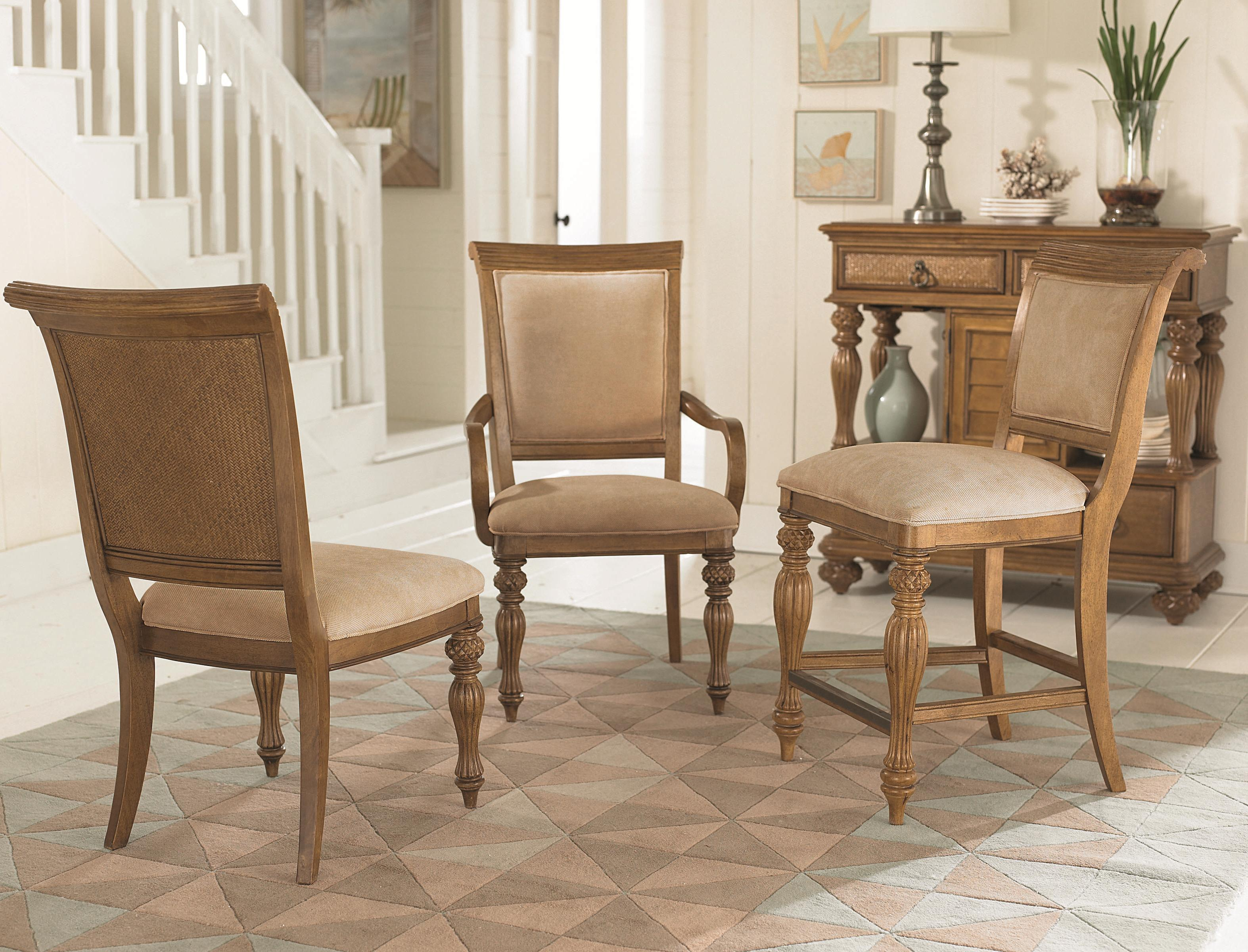 Island-Inspired Woven Back Dining Side Chair with Two Front Carved ...
