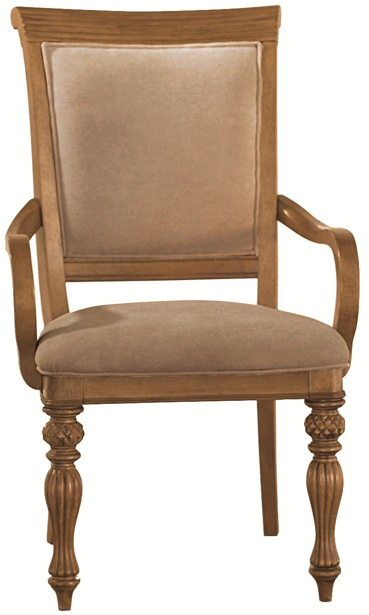 Island Inspired Woven Back Dining Arm Chair With Two Front Carved/Turned  Legs U0026