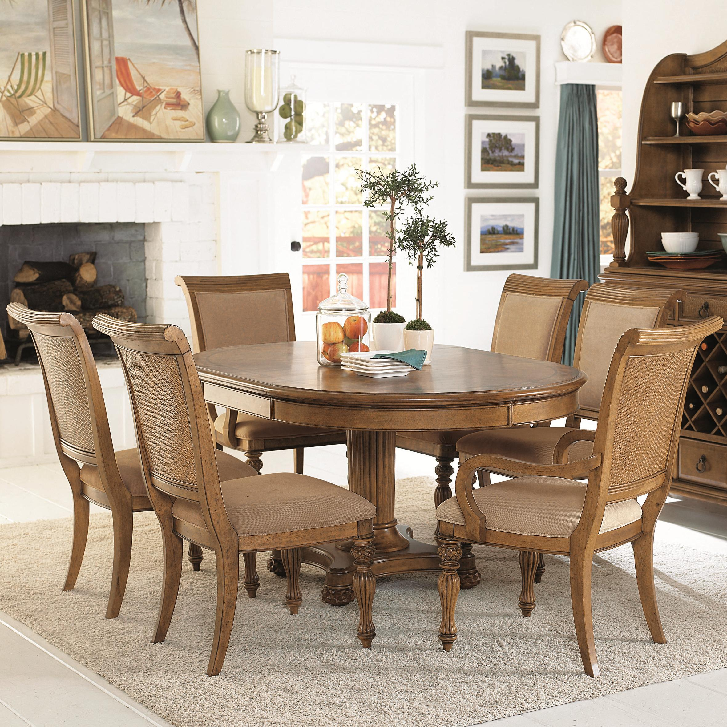 7 Piece Island Inspired Single Pedestal Table & Dining Arm Side
