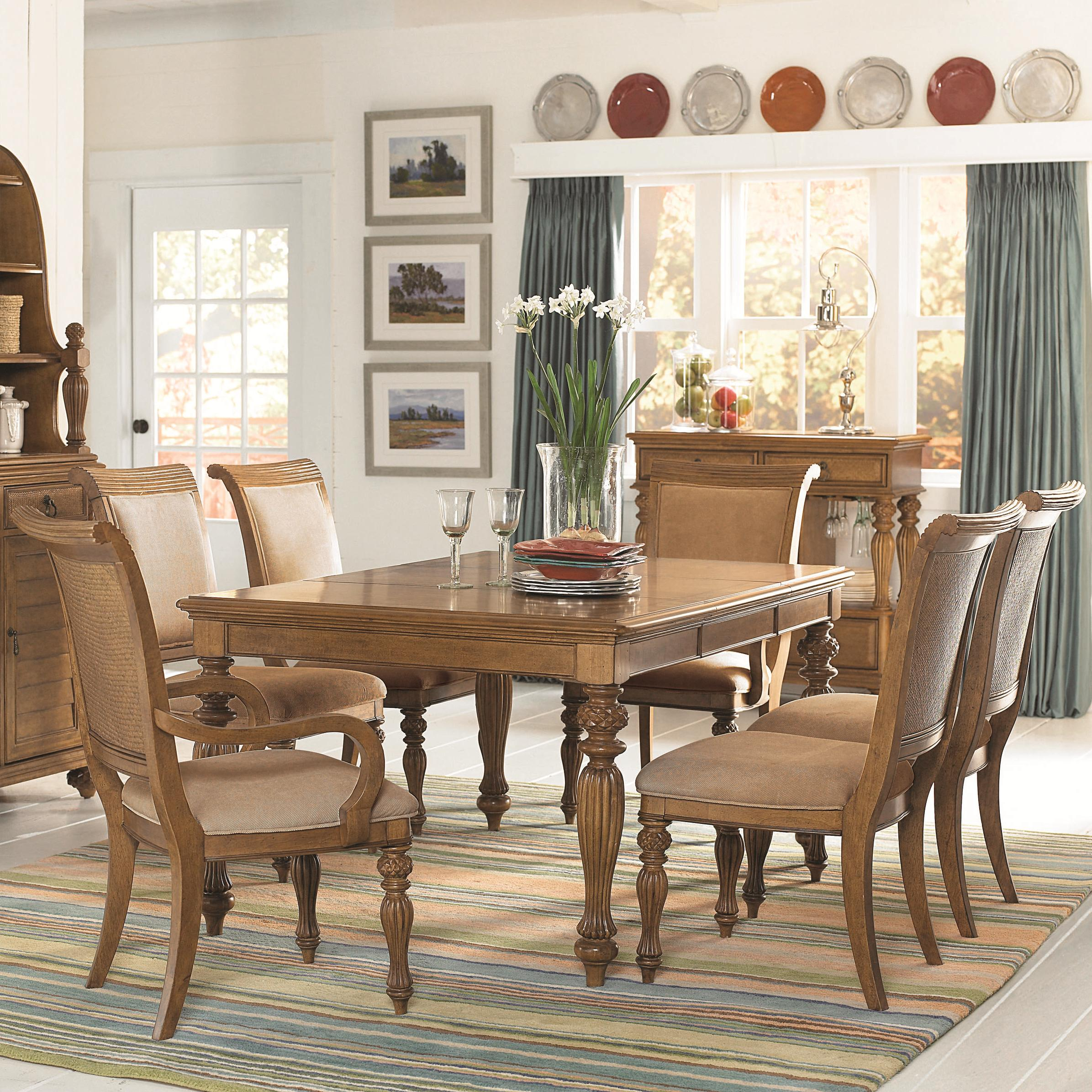 American Drew Dining Room Furniture: 7-Piece Rectangular Turned/Carved Leg Dining Table With