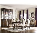 American Drew Jessica McClintock Couture Round Venetian Mirror - Shown with Renaissance Dining Table, Chairs, Palladian China, and Buffet