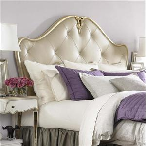 American Drew Jessica McClintock Couture Queen Silver Leaf Leather Headboard