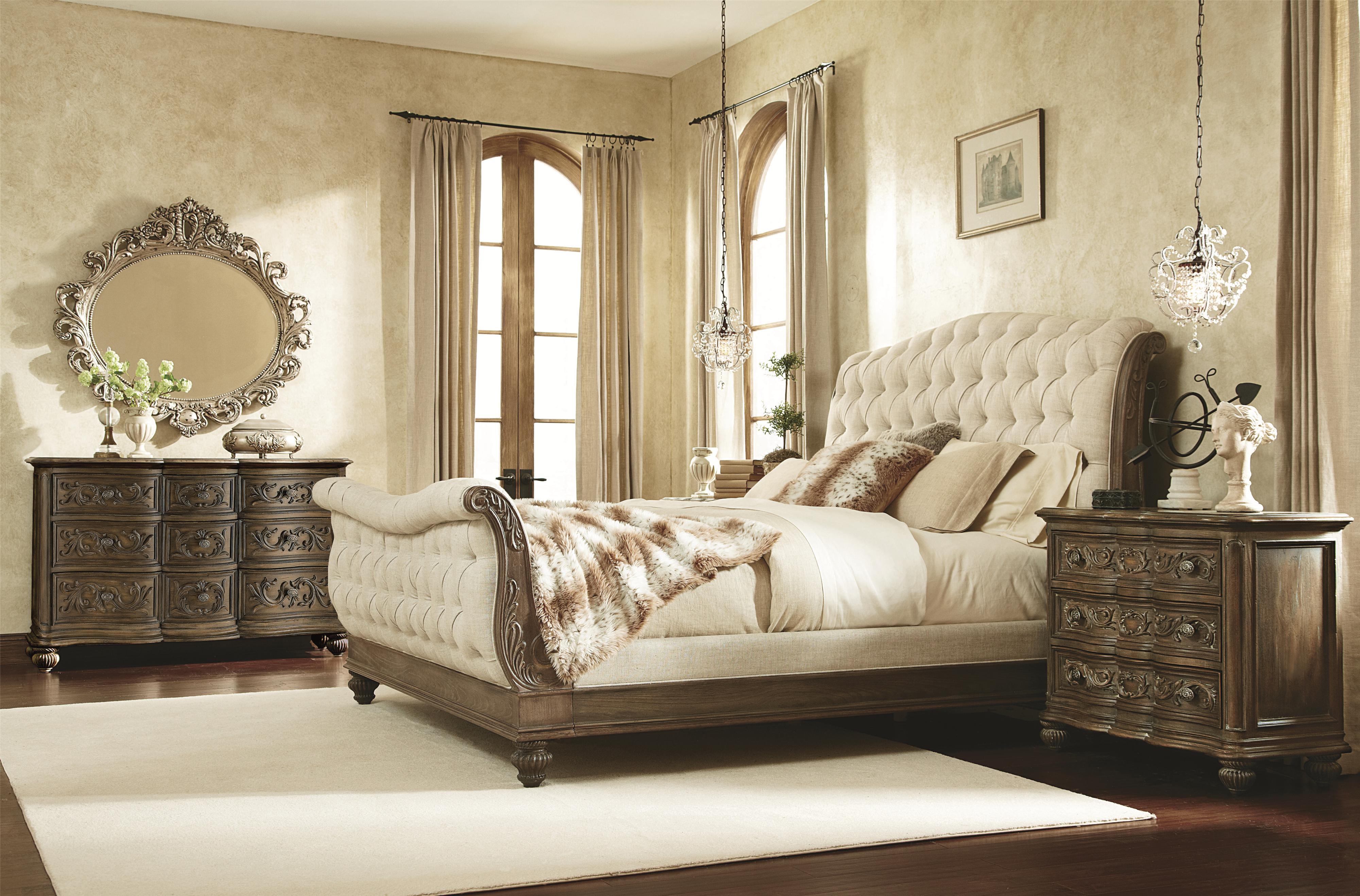 Queen Sleigh Bed with Linen Tufted Headboard and Footboard by ...