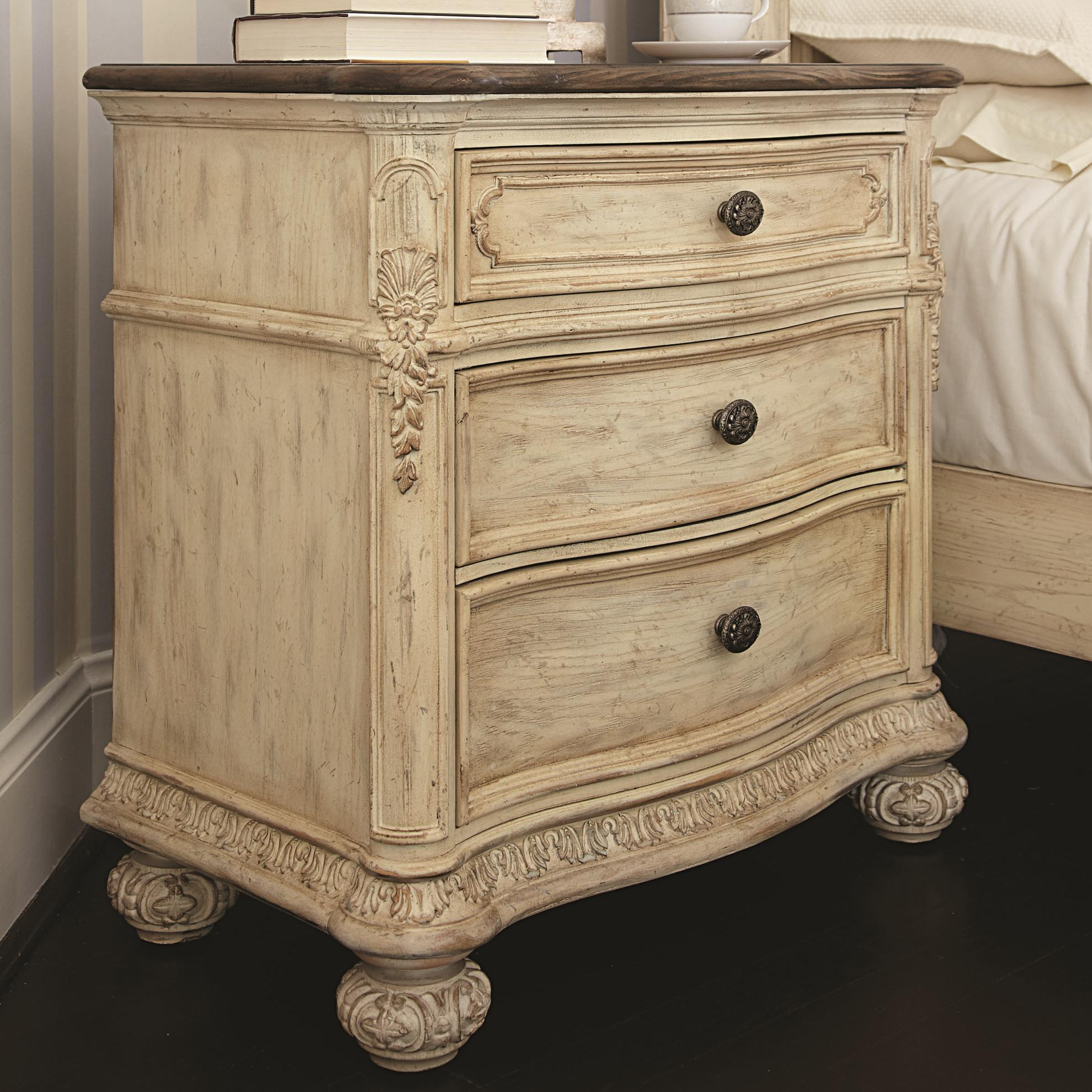 3 Drawer Nightstand With Acanthus Leaf Detailing. By American Drew