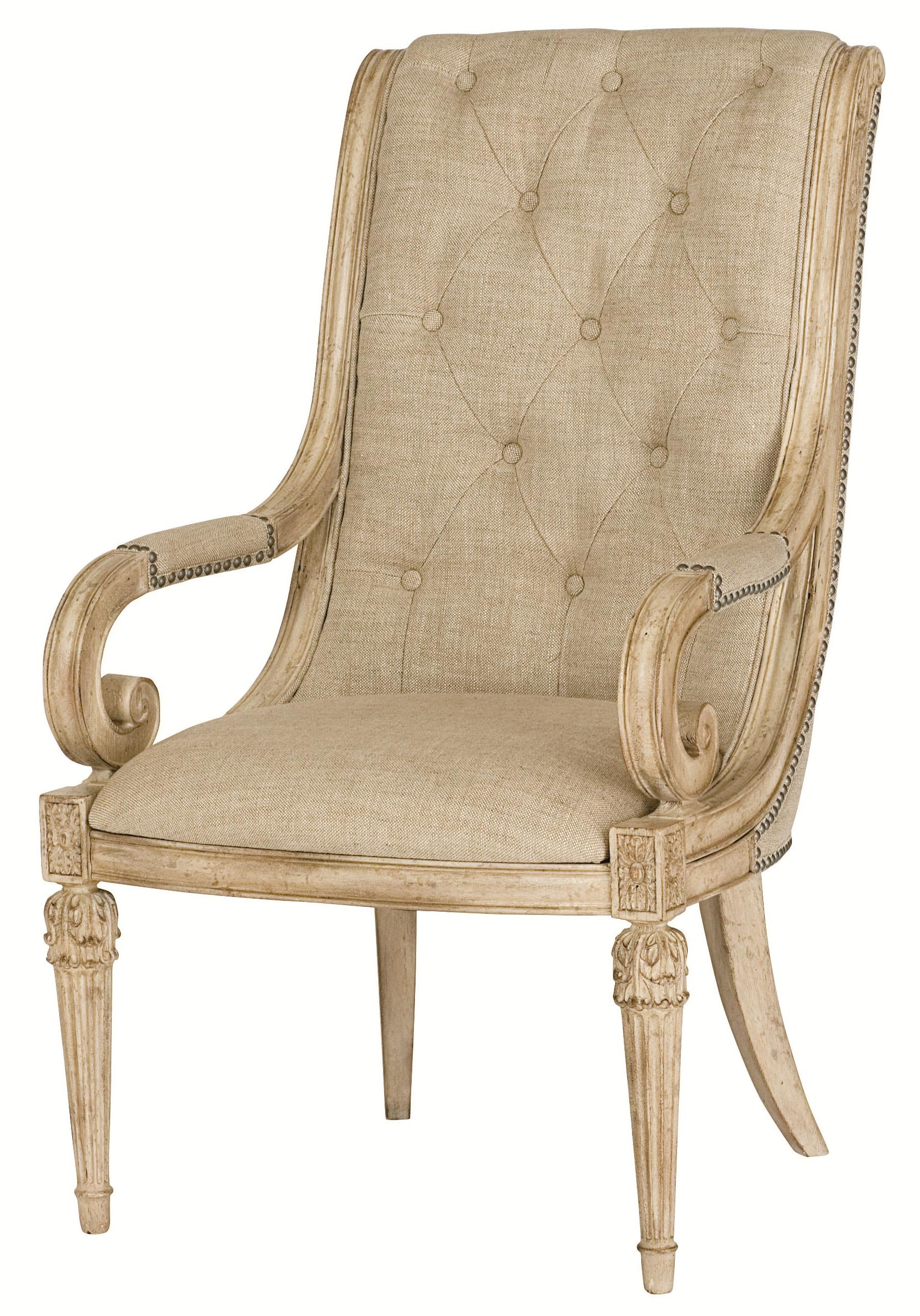 Upholstered Arm Chair With Upholstered Tufted Back Scroll Arms By American Drew Wolf And