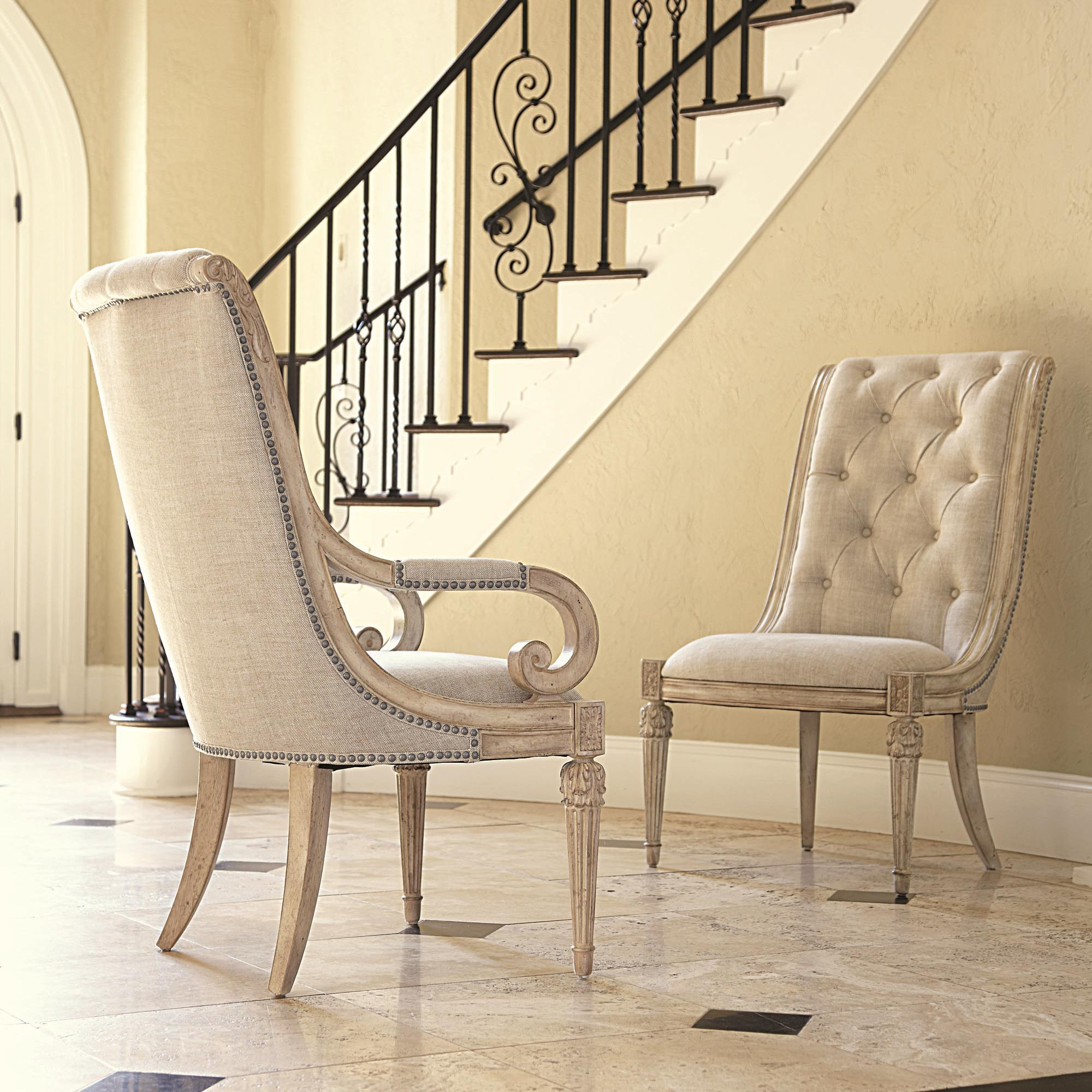 upholstered arm chair with upholstered tufted back u0026 scroll arms - Jessica Mcclintock Furniture