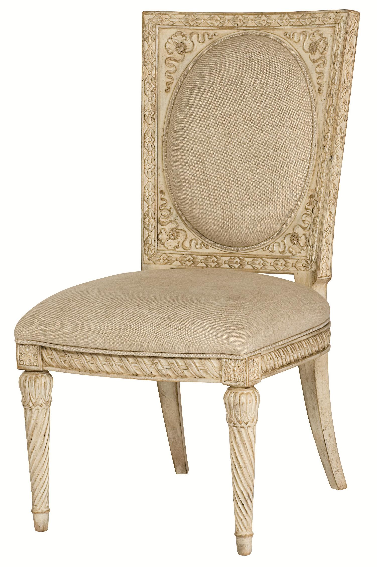 Cane Back Accent Chair With Upholstery
