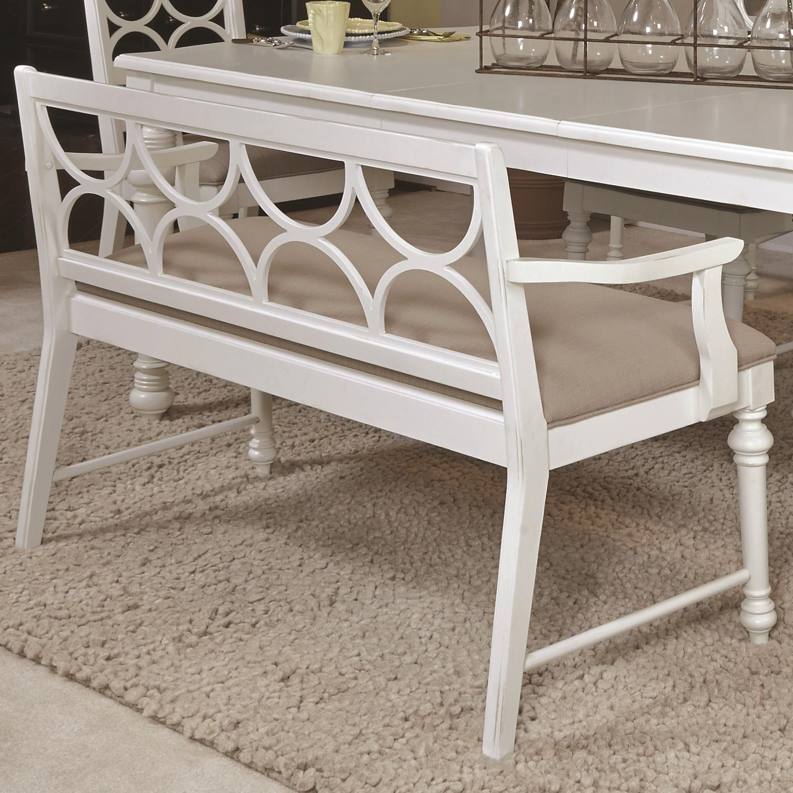 Upholstered dining bench with decorative wood back by american drew wolf and gardiner wolf Decorative benches