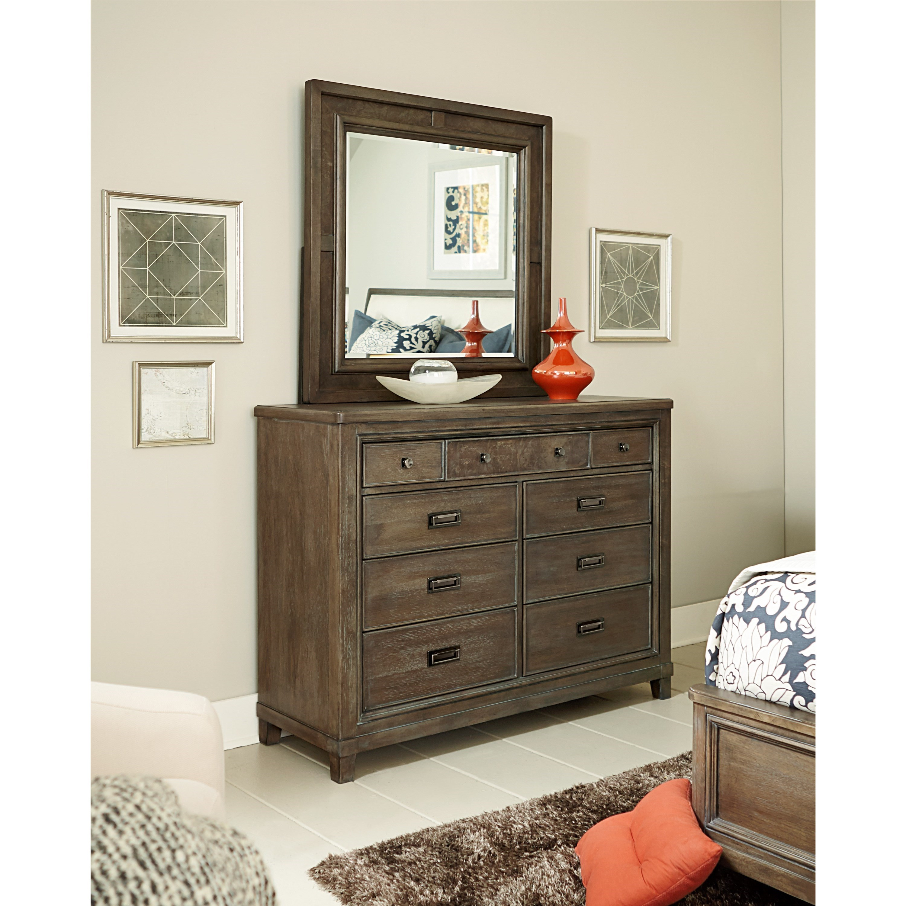 Contemporary 9 Drawer Dresser And Mirror Set, Drop Top Center Drawer With Media  Storage