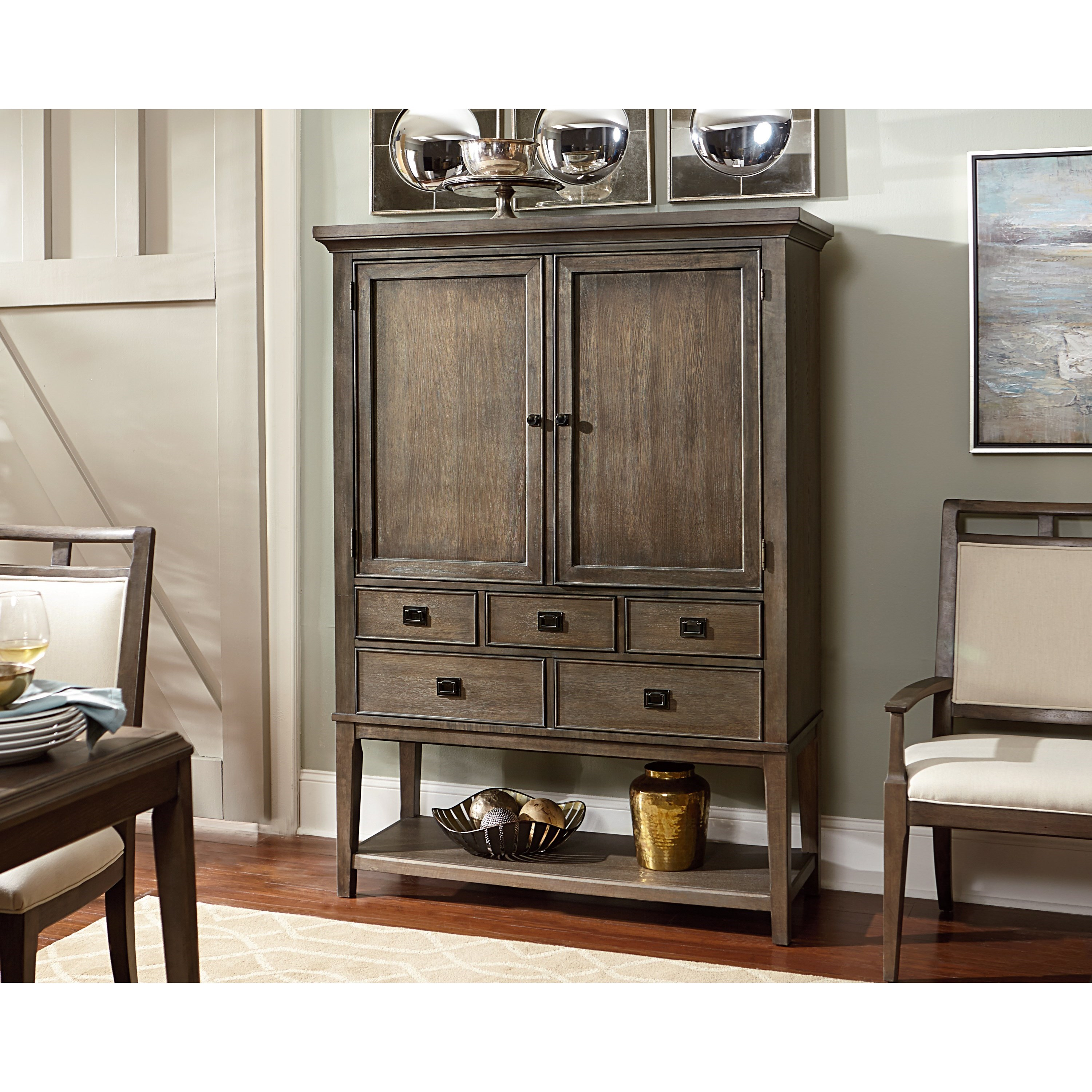 Contemporary Bar Cabinet With 2 Doors And 5 Drawers And A Mirrored Back