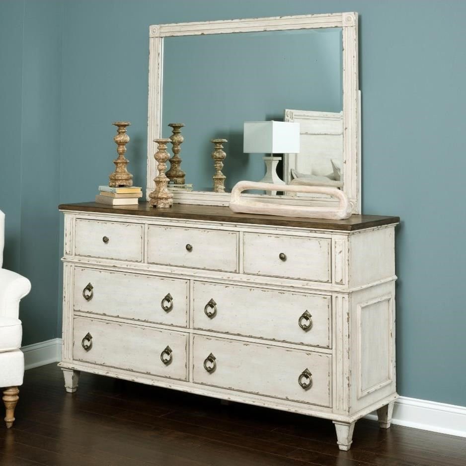 7 Drawer Dresser and Mirror with Wood Frame by American Drew | Wolf ...