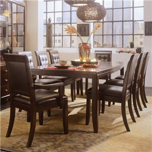 American Drew Tribecca 9-Piece Leg Table & Leather Chair Set