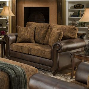 American Furniture 5850 Loveseat with Exposed Wood