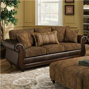 American Furniture 5850 Sofa with Exposed Wood