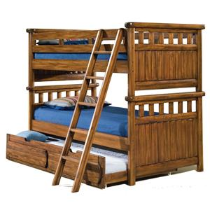 American Woodcrafters Timberline  3/3 Bunk Bed with Trundle Unit