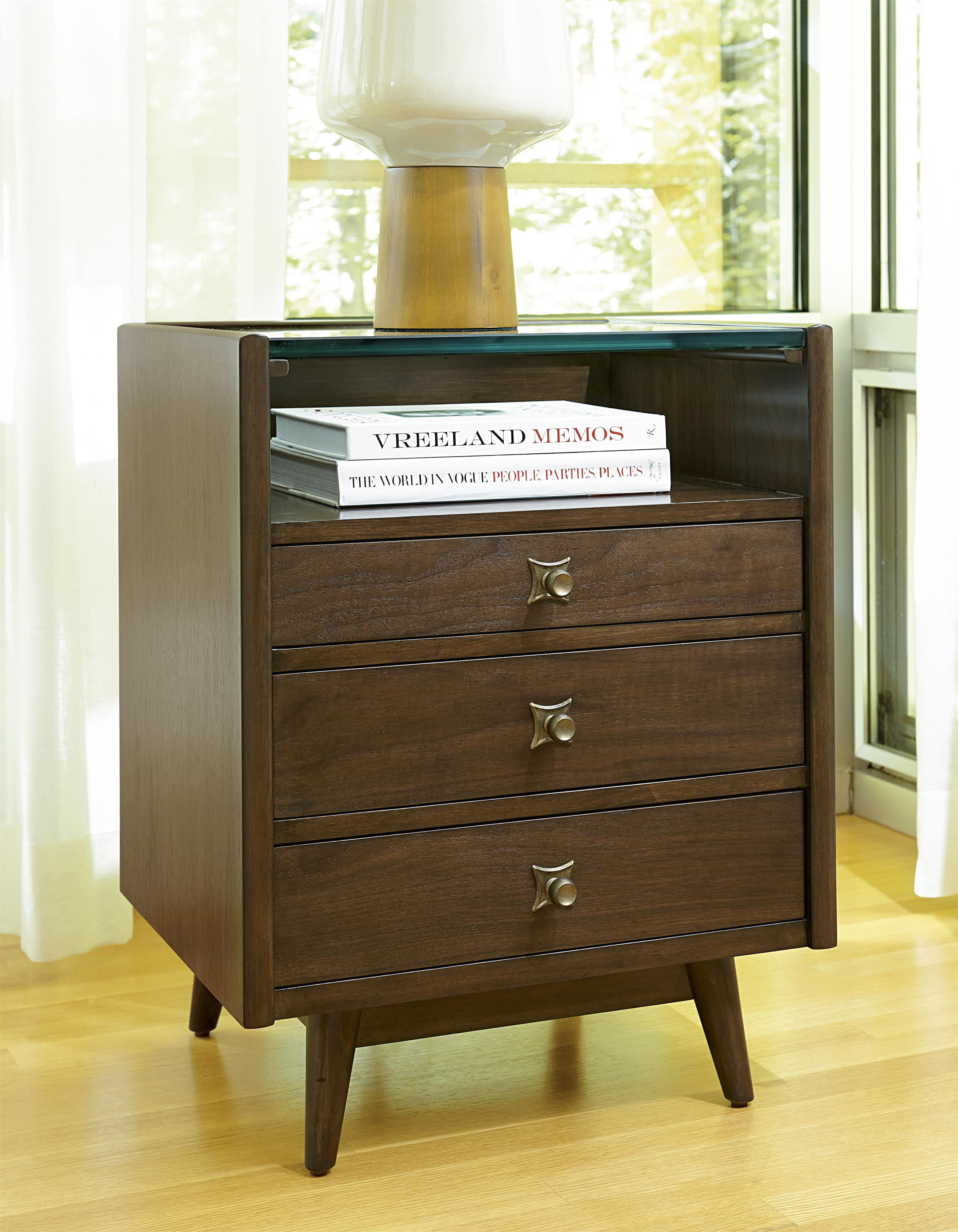 midcentury modern silver lake nightstand with glass top and shelf  - midcentury modern silver lake nightstand with glass top and shelf withwire management