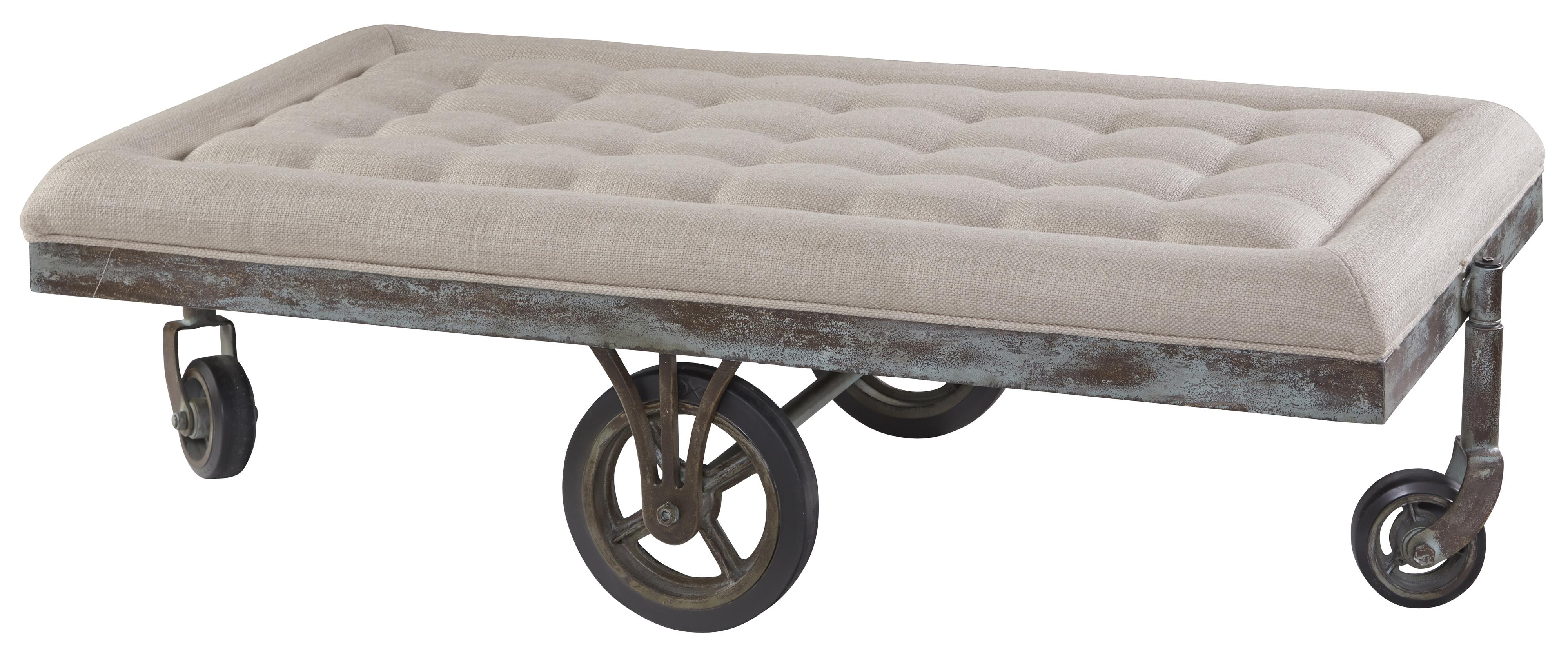 Williamsburg Upholstered Factory Cart Cocktail Table by A R T