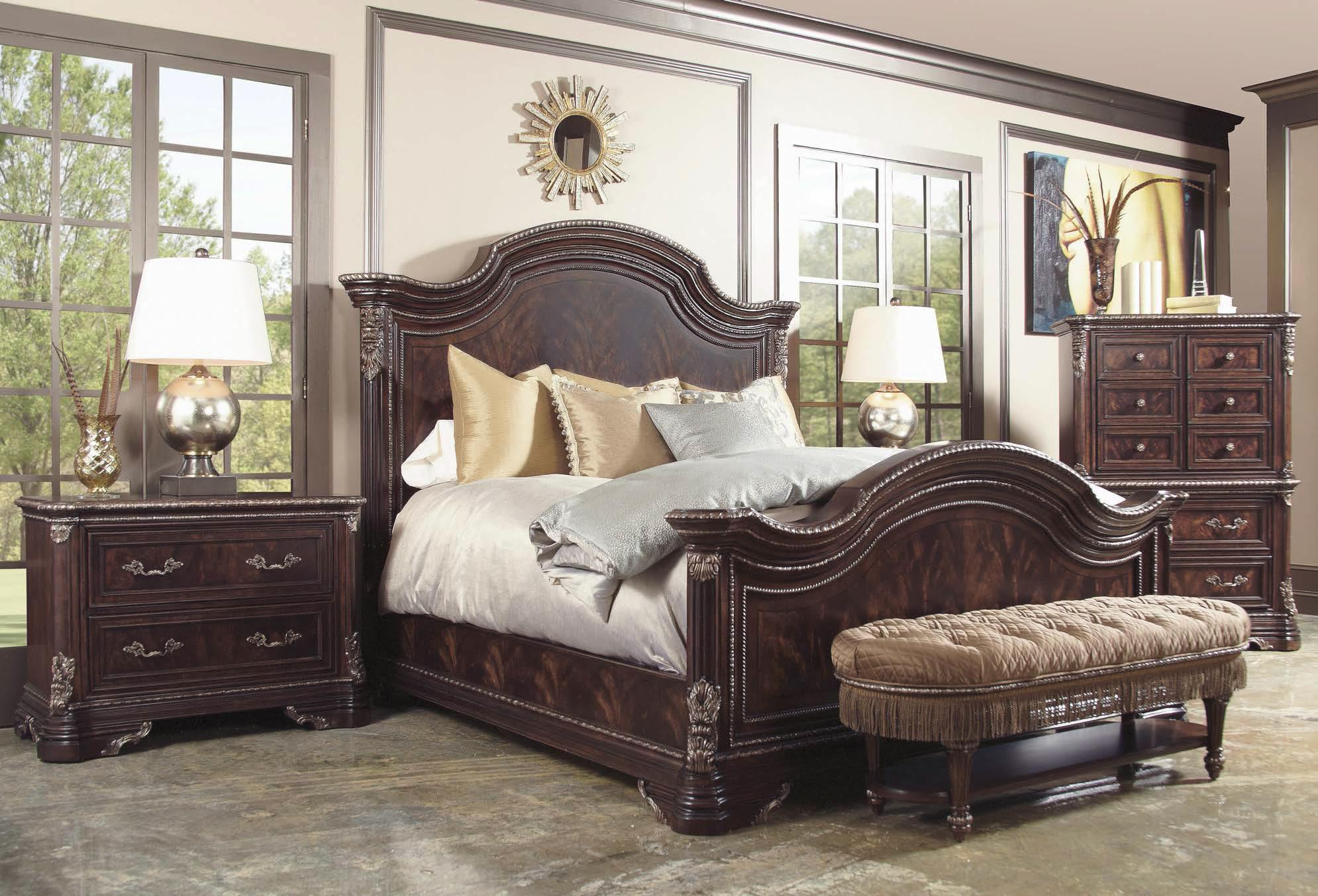 Traditional king panel bed with ornate details by a r t - Ornate bedroom furniture ...
