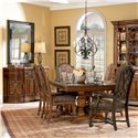 A.R.T. Furniture Inc Marbella Rectangular Double Pedestal Dining Table - Shown with Upholstered Back Side Chairs in Tobacco, Upholstered Back Arm Chairs in Raven, and Demilune Buffet