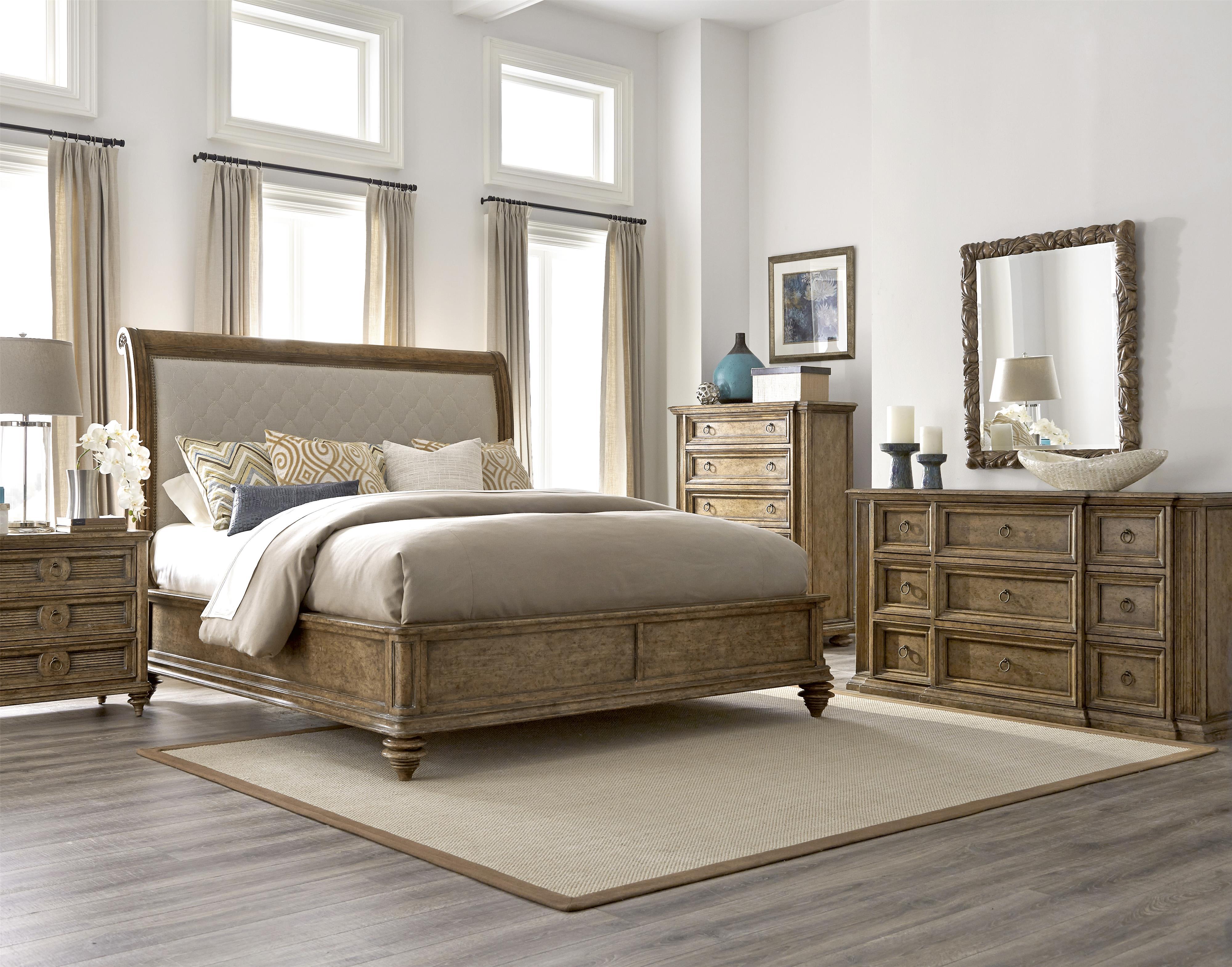 king upholstered sleigh bed