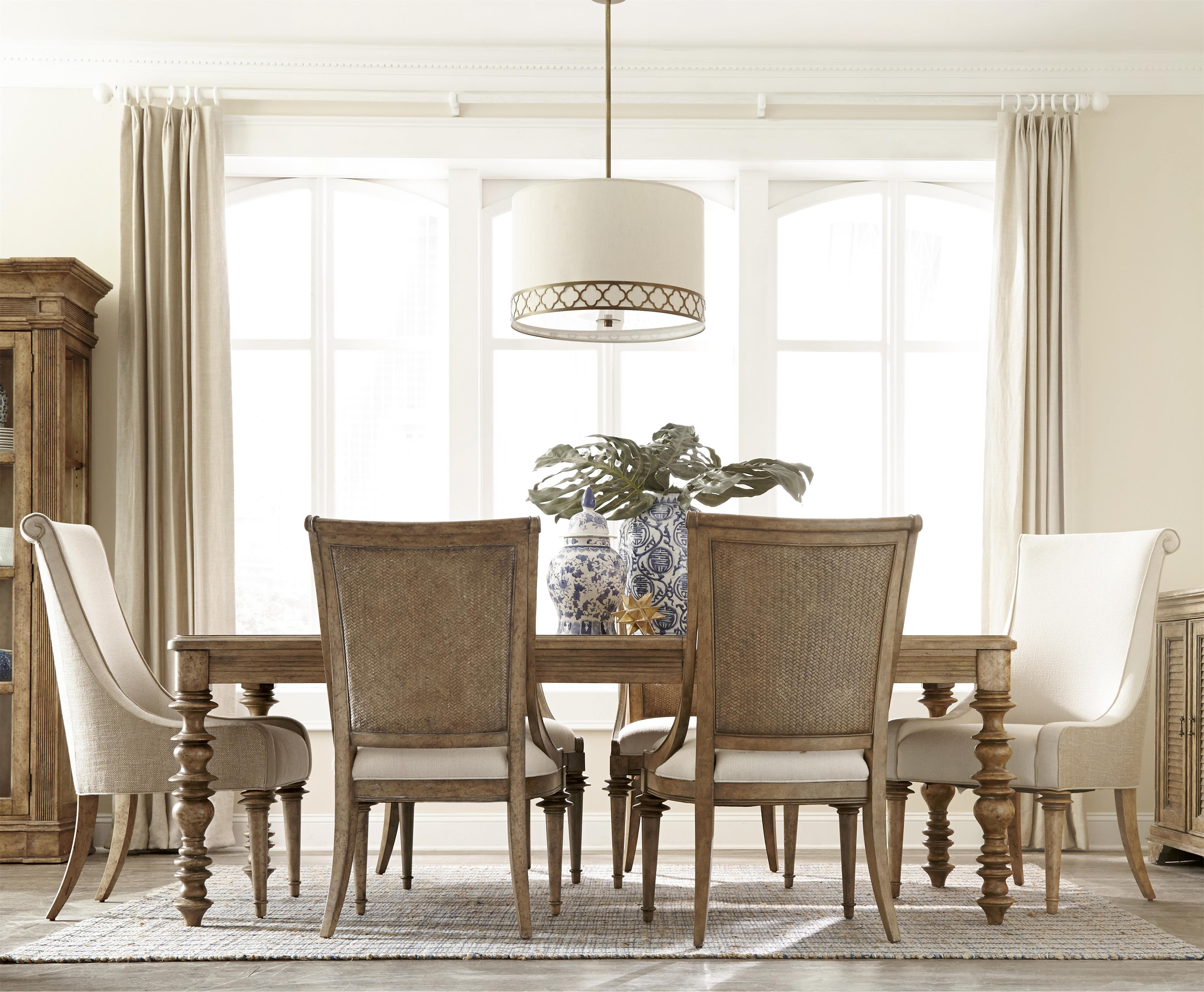 7 Piece Leg Dining Table Set With Host Chairs