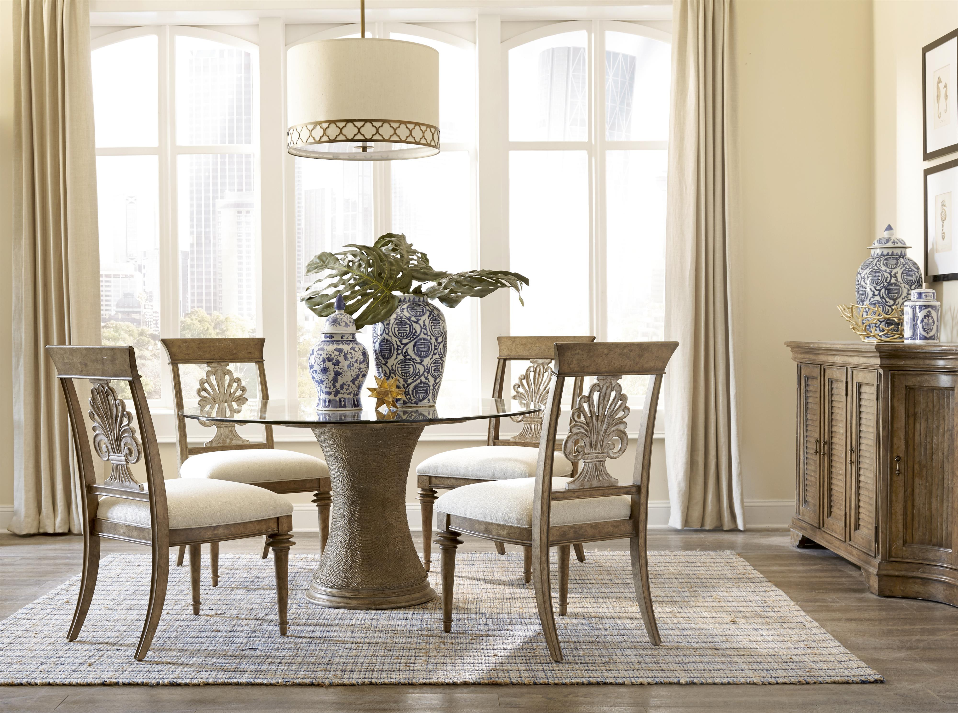 54 Inch Round Dining Table with Glass Top and Pedestal Base by