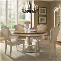 A.R.T. Furniture Inc Provenance Round Single Pedestal Dining Table with Two-Tone Finish - Shown with Upholstered Back Side and Arm Chairs