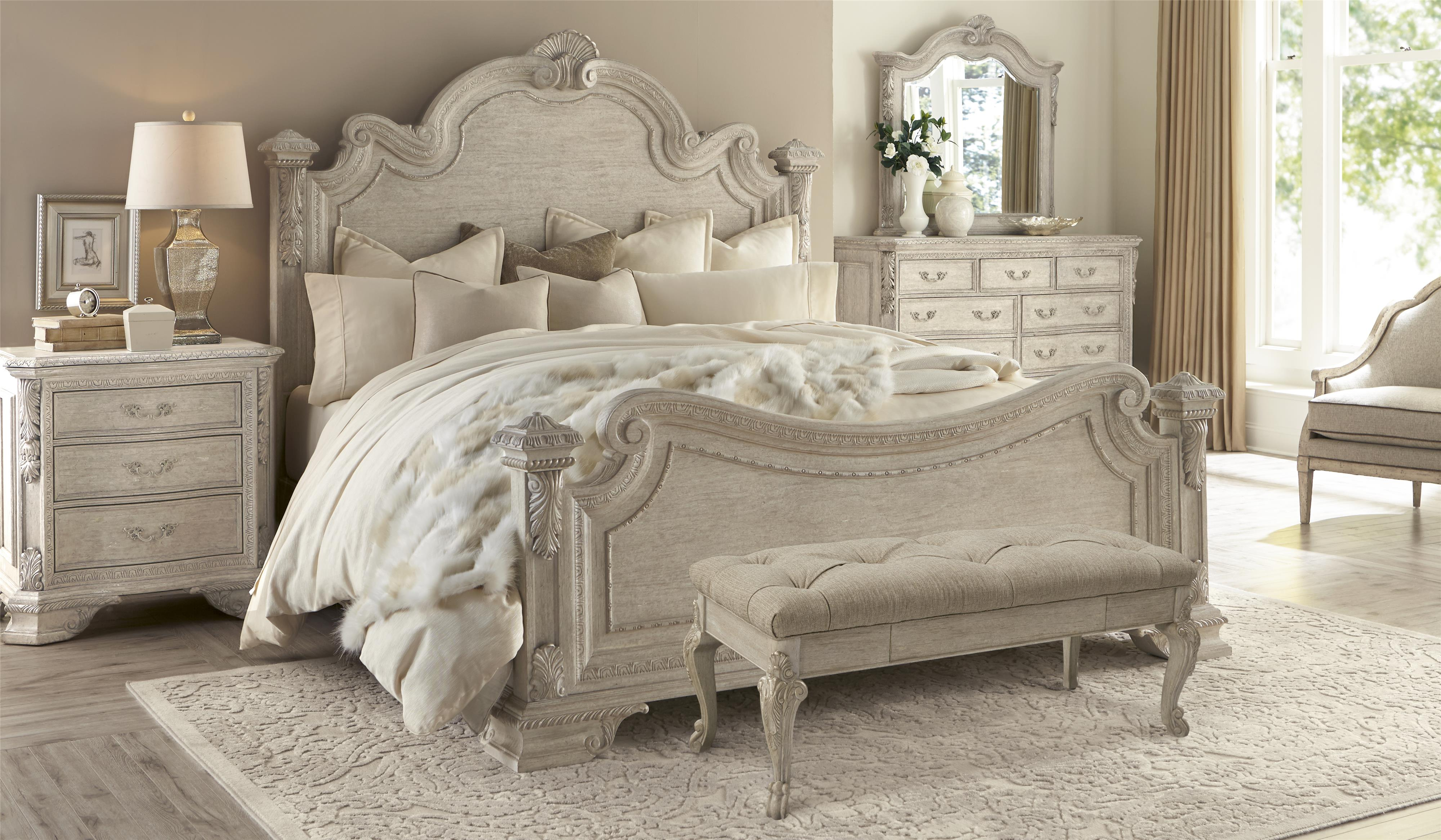 Traditional Bed Bench with Tufted Seat and Cabriole Legs by A.R.T. ...