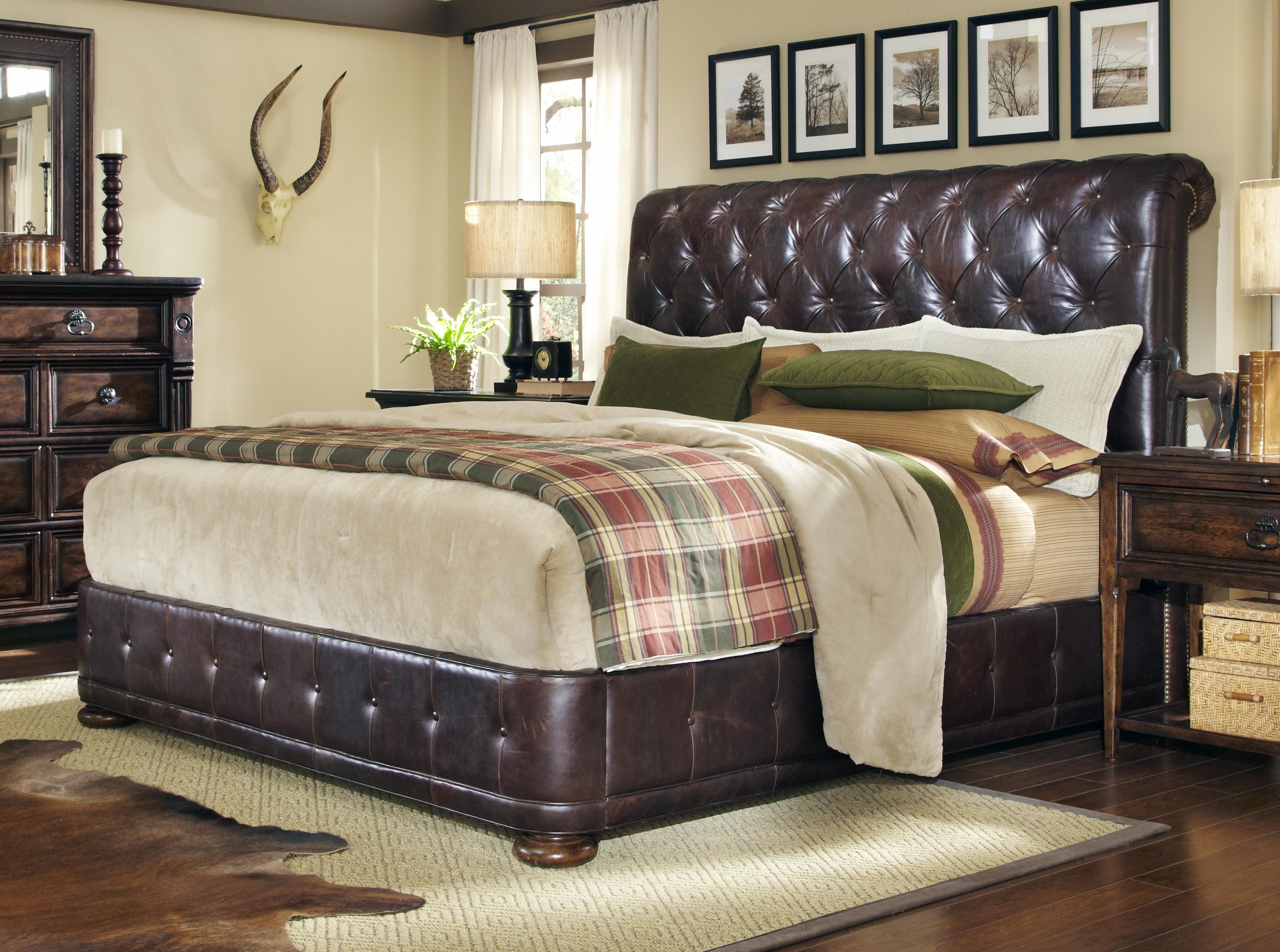 king leather upholstered platform bed