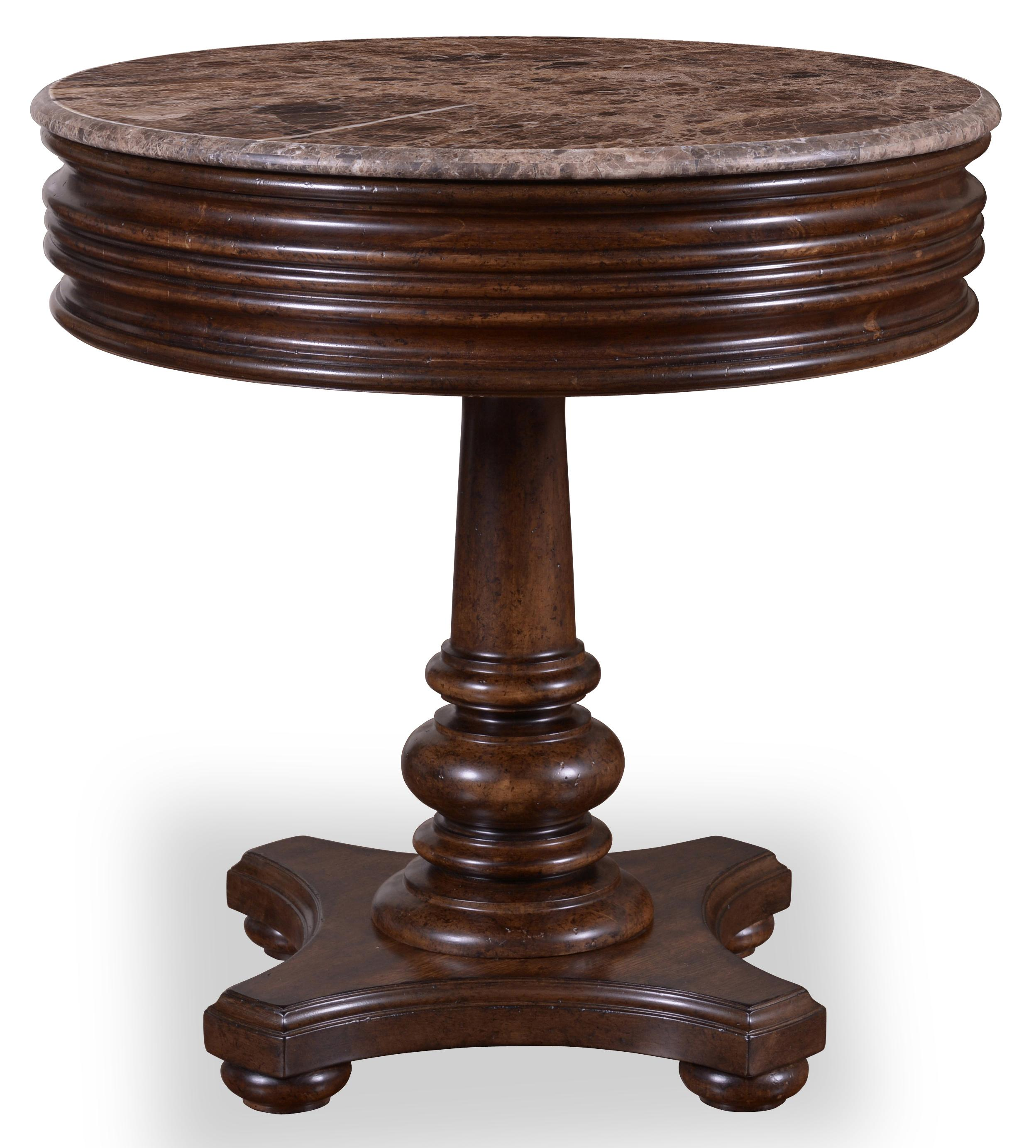 1 Drawer Round Side Table With Marble Top