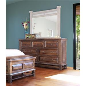 International Furniture Direct Golden Antique Dresser