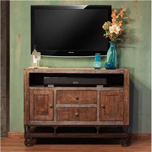 """International Furniture Direct Urban Gold 52"""" Solid Wood TV Stand"""