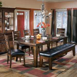 Signature Design by Ashley Furniture Larchmont Extension Table, 5 Chairs, and 1 Bench