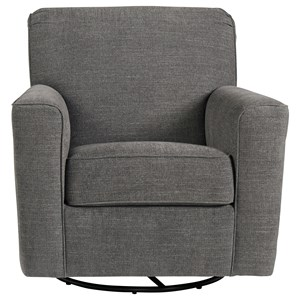 Swivel Glider Accent Chair in Gray Fabric