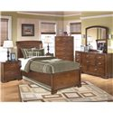 Signature Design by Ashley Alea Twin Sleigh Bed - Shown With Nightstand, Chest, Dresser, and Mirror
