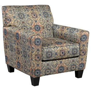 Accent Chair with Medallion Pattern Fabric