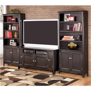 Signature Design by Ashley Carlyle 60 Inch TV Stand & 2 Large Door Bookcases