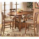 Ashley Furniture Cross Island 3-Piece Counter Height Ext Table Dining Set - Table shown with leaf and 4 bar stools