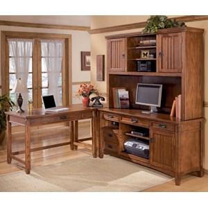 4 Piece L-Shape Office Desk Unit with Hutch