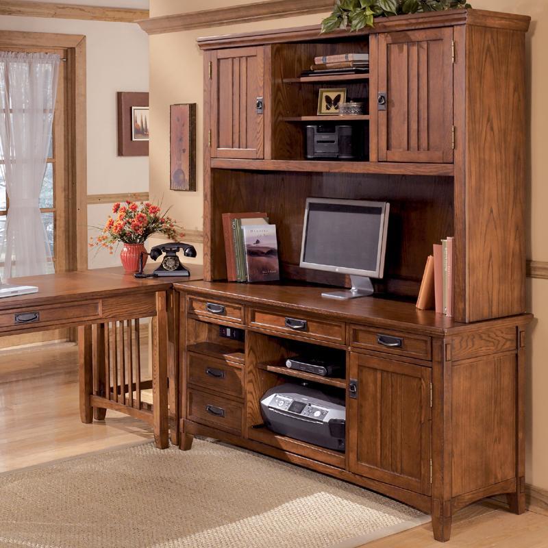 Lovely Office Mission Credenza Desk U0026 2 Door Hutch Set