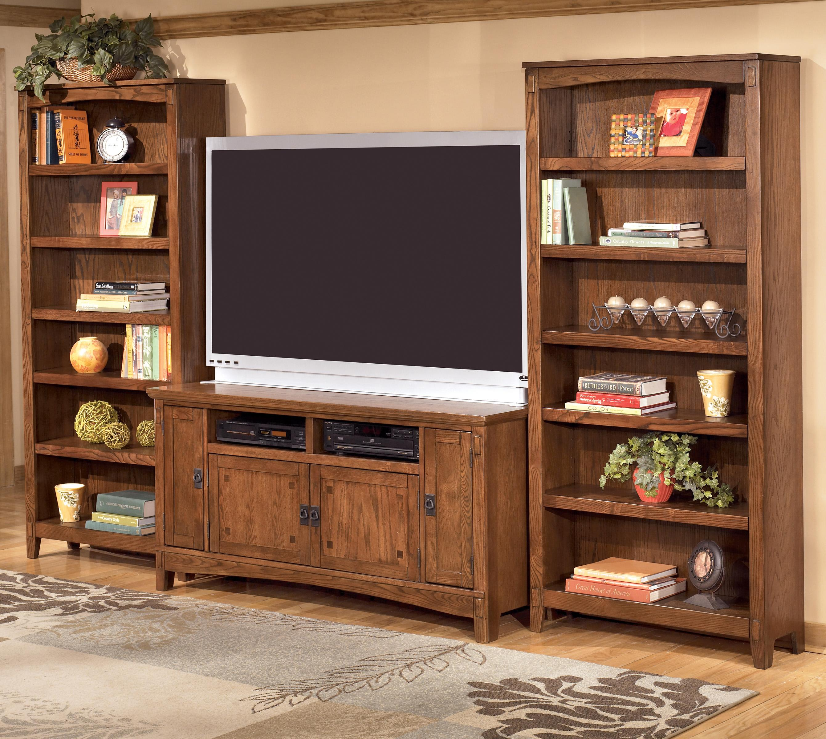 60 Inch Tv Stand 2 Large Bookcases By Ashley Furniture Wolf And