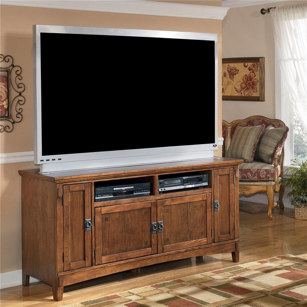 60 Inch Oak TV Stand with Mission Style Hardware