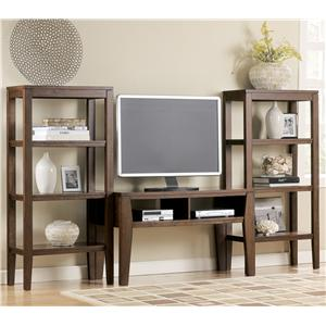 Contemporary TV Stand with 2 Pier Open Bookcases