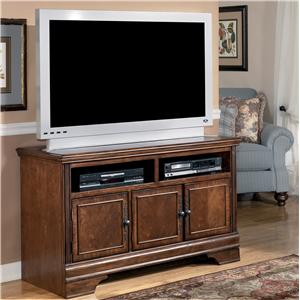 Transitional Medium TV Stand with Doors and Storage Compartments