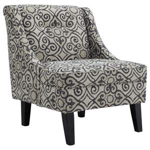 Accent Chair with Gray/Cream Pattern Fabric