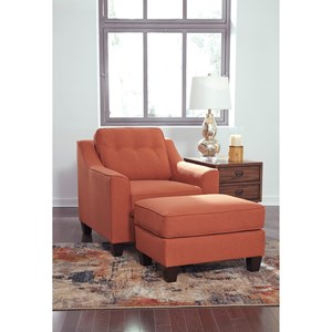 Transitional Chair and Ottoman Set with Button Tufting