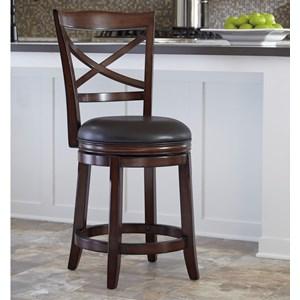 Counter Height X-Back Upholstered Swivel Barstool